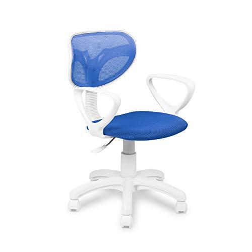 Touch, Silla Juvenil Giratoria, Silla de Escritorio o Oficina, Acabado en Azul, Medidas: 40 cm (Ancho) x 38 cm (Fondo) x 80-90 cm (Alto)