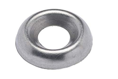 #8 Stainless Cup Countersunk Finish Washer, (100 Pack) - Choose Size, by Bolt Dropper, 18-8 (304) Stainless Steel