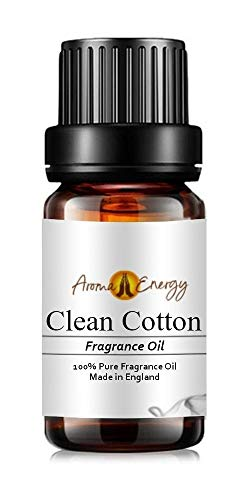 Pure Clean Cotton Fragrance Oil, 10ml - Ideal for Aromatherapy, Oil Burner, Diffuser, Home Made Making, Potpourri, Candle, Soap, Cosmetic, Slime, Bath Bomb, Air Freshener