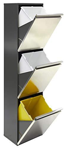 Vario CR305 Cubo de Basura y Reciclaje de Acero Inoxidable de 3 Cubos, INOX, 133,5 x 31,6 x 25 cm