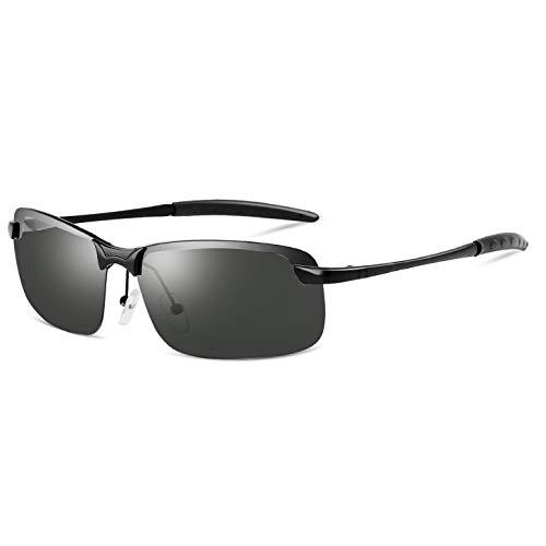 Zhhhk UV400 Negro Gafas De Sol Polarizadas Hombres Conduciendo Conductor Espejo De Conducción Gafas De Sol Retro Gafas