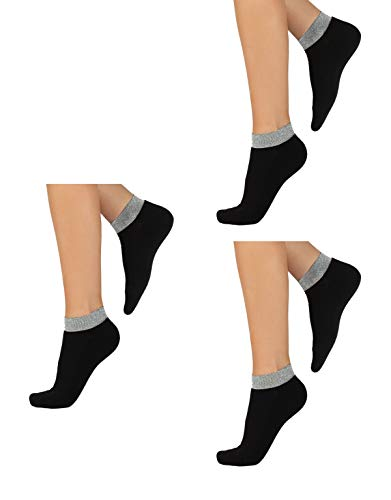 CALZITALY 3 Paar von Socken aus Baumwolle mit Glitzer Lurex Bund | Schwarz | Einheitsgröße 36/41 | Made in Italy (Einheitsgröße, Schwarz)