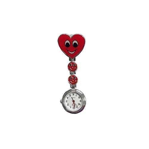 asdfwe Broche Sonreír Protección Higiénica Enfermera De La del Reloj Manera De Señoras del Corazón Rojo Colgante Creativo De Medicina De Bolsillo De Cierre Roja del Reloj
