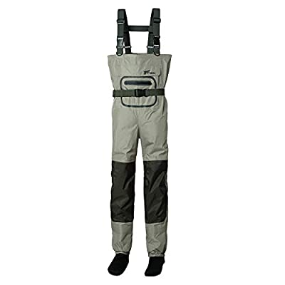 8 Fans Men's Fishing Chest Waders 3-Ply Durable Breathable and Waterproof with Neoprene Stocking Foot Insulated Fishing Chest Waders, for Duck Hunting, Fly Fishing, A Mesh Storage Bag Included