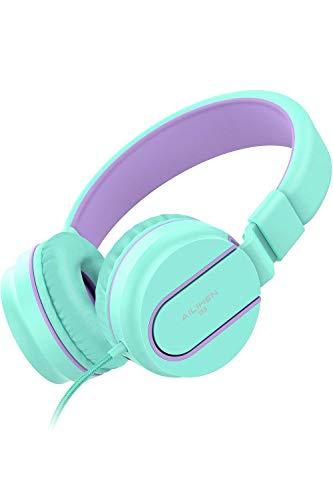 AILIHEN Kinder Kopfhörer mit Kabel Mikrofon Lautstärke Kontroller Faltbarer Leicht Kinderkopfhörer 3.5mm Jungen Mädchen On-Ear Headsets für Mobiltelefone Tablets Smartphones (hellgrün Flieder)