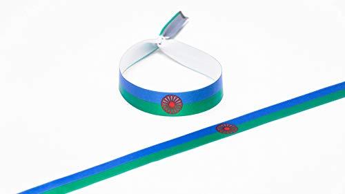 Tarja 73 - Pulsera de Tela con Bandera Gitana - Pulsera con Bandera - Regalo Creativo e Ideal