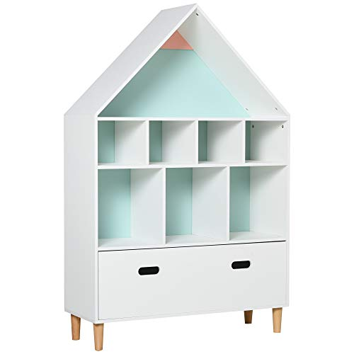 homcom Libreria Scaffale Portagiochi per Cameretta Bimbi e Ragazzi con Mensole a Cubi Bianca, Due Colori Cambiati, Azzurra e Rosa 82x30x126cm