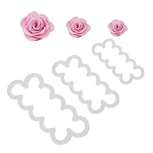 Markcur, utensili da cucina per il fai da te, Set di 3 tagliapasta fondenti a forma di rosa per decorazione torte, biscotti.