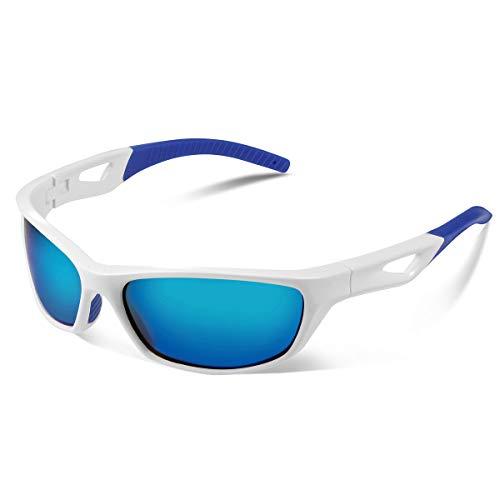Vimbloom Sonnenbrille Herren Polarisierte Sportbrille Fahrradbrille mit UV 400 Schutz Autofahren Laufen Radfahren Angeln Golf für Herren Damen VI685 (Weiß Blaue)