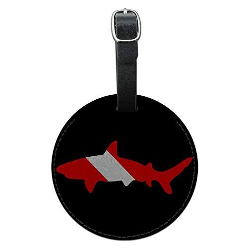 Graphics & More Shark Scuba Symbol Diver Immersione Rotonda Bagagli Id Tag Valigia In Pelle Nero