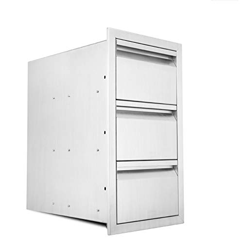 Karpevta Outdoor Kitchen Drawer W14XD21XH25.4 Inches Triple Access BBQ Drawers - Stainless Steel 3 Tier Drawers Box Frame Style for Outdoor Kitchen Grilling Station or Commercial BBQ Island