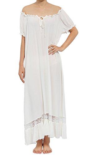 Latuza Women's Sleepwear Off The Shoulder Victorian Nightgown, White, X-Large