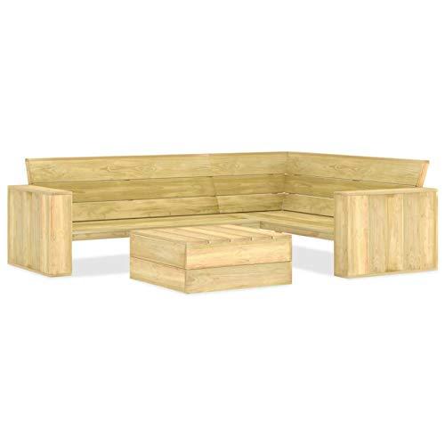 Tidyard Juego de Muebles de Jardín 2 Piezas Conjunto de Muebles para Jardín Terraza o Patio Mdera de Pino Impregnada
