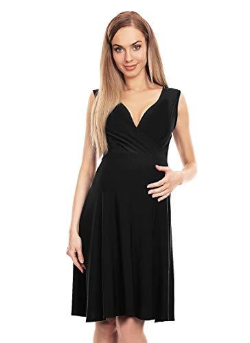 Selente Mummy Love 0144 festliches Umstandskleid (Made in EU) Schwangerschaftskleid, Wickeloptik Schwarz, Gr. S/M
