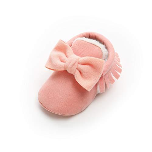 Zapatos de Lana Bebé Invierno Soft Sole Crib Caliente Botas de Niñas Algodón con Bowknot (0-6 Meses, Rosado, Tamaño de Etiqueta 11)
