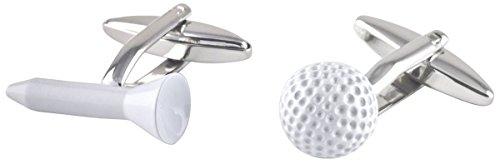 David Van Hagen Argent/Blanc Golf Ball and Tee boutons de manchette de