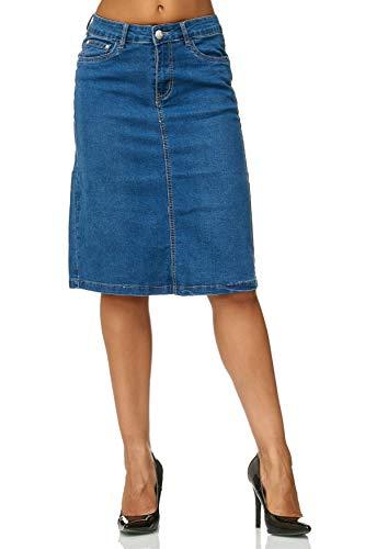 Damen Jeans Rock Knielang Stretch Ausgestellt Midi Skirt Übergröße Plus Size D2471, Farben:Blau, Größe:38