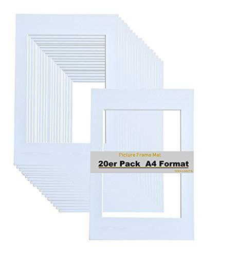 TUKA-i-AKUT 20er Passepartouts DIN A4 für Bilder im Format 15x20 cm, Weiß, 1mm stark - Säurefrei Alterungsbeständig für Einrahmen von Bilder, Fotos, Poster, Kunstdrucken usw. TKD9100-A4-20x