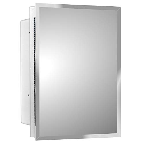 Mirrors and More Recessed Frameless Polished Edge Mirror Medicine Cabinet | Fixed Shelf...