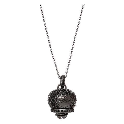Collana in Argento 925 Nero Amen con campanella zirconi Neri