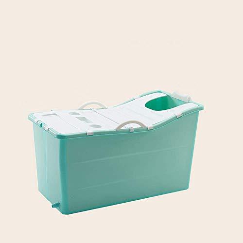yunyu Bañera Plegable Bañera Barril de baño Barril de baño Adultos Inicio Cuerpo Engrosamiento Bañera para Adultos, con Cubierta de Aislamiento, 100 * 60 * 53Cm, Verde