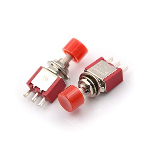 JSJJAUA Interruptor de Palanca 5pcs 3pin Interruptor ON- (ON) 2A 250V CA / 5A 120 V CAU de Altura de CA Interruptor AUTOMÁTICO AUTOMÁTICO Mucho Botón de Empuje de Retorno 6mm