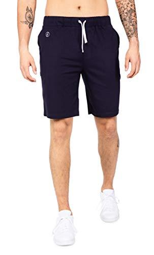 Banqert Herren-Shorts Mont Choisy - Kurze Hosen-n - Active-Brushed Baumwollmischung - Schlafhose Haushose Sporthose-n Trainingshose-n, Dunkelblau, M