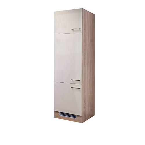 Flex-Well Kühlschrankumbauschrank NEPAL - Umbauschrank für Kühlschrank - 3-türig - Breite 60 cm - Creme glänzend/Eiche Sonoma