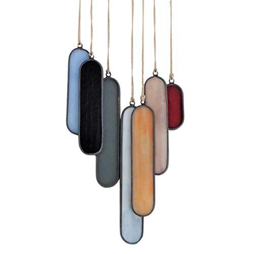 Sensory4u Stained Glass Suncatchers Window Hanging Wall Art Element Earth Tones Modern Design  Oval 7 Piece Set