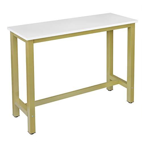 WOLTU BT30gdws Tavolo da Bar Rettangolare Alto Tavolino per Cucina in Metallo Legno 140x40x100 cm