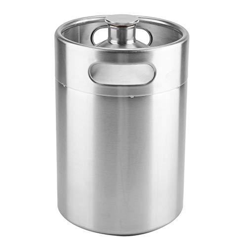 Barril de cerveza, mini barril estilo Growler de acero inoxidable, portátil, barril de cerveza casera con tapa en espiral y asas dobles para picnic en casa, camping(5L)