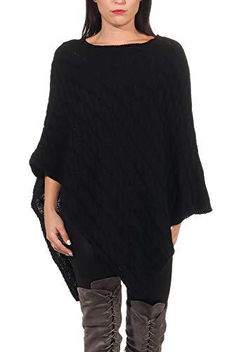 DANAEST Damen Poncho Cape Strick Pullover Umhang 659, Farbe:Schwarz, Grösse Pullower:Einheitsgröße