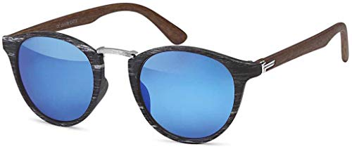 styleBREAKER Sonnenbrille in Holz Optik und runden Gläsern, Kunststoff-Metall-Gestell, Unisex 09020083, Farbe:Gestell Schwarz-Silber/Glas Blau verspiegelt