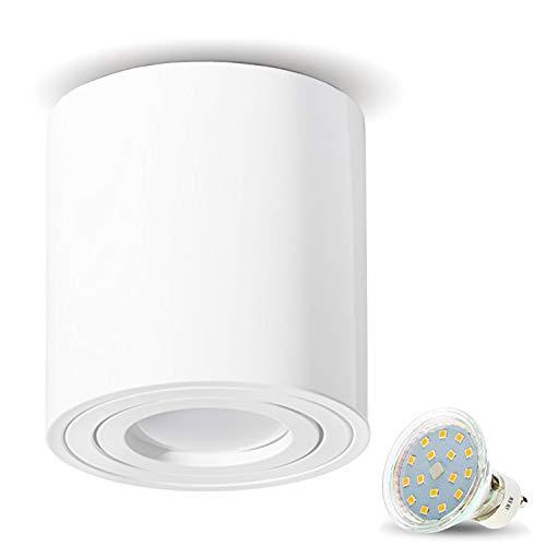 Apparecchio a plafone JVS apparecchio a plafone a plafone LED 4W bianco freddo Milano presa GU10 230V bianco rotondo plafoniera orientabile a faretti plafoniera a soffitto a plafone in alluminio