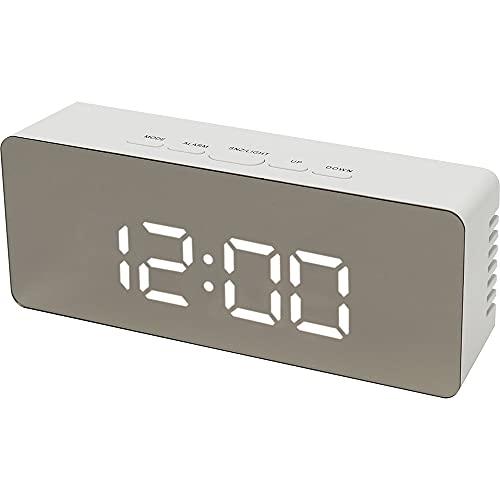 テラスLEDミラークロックL 置き時計 置時計 デジタル デジタル時計 LED アラーム スヌーズ 温度 ナイトモード シンプル USB 乾電池 MEC-18