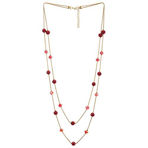 COOLSTEELANDBEYOND Oro Rojo Statement Collar Dos Hebra Largo Cadena con Rojo Cristal Cuentas Encantado Colgantes Colgante, De Moda Vestir