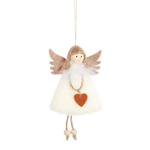 Armfer-household supply Christmas Hanging Decorations Cloth Cute Angel Plush Doll Toys Funny Xmas Tree Ornaments Mini Wall Pendant Best Gift for Xmas New Year Festival Holiday Party Decor