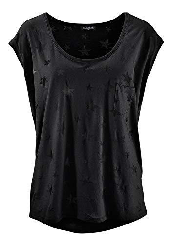 TrendiMax Damen T-Shirt Kurzarm Locker Bluse Lässiges Sommer Shirt mit Allover-Sternen Druck (Black, S)