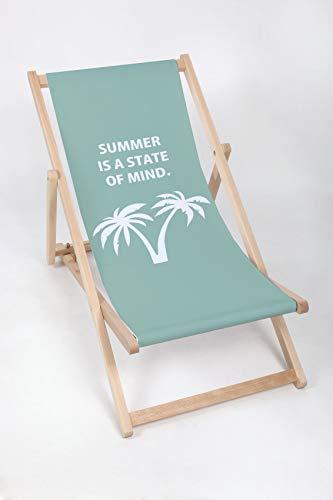 Lovely Line Liegestuhl Sonnenliege Klappbar, Gartenliege Rückenlehne verstellbar leicht klappbar Garten Balkon Strand Holzklappstühle Naturholz Lounger (Summer)