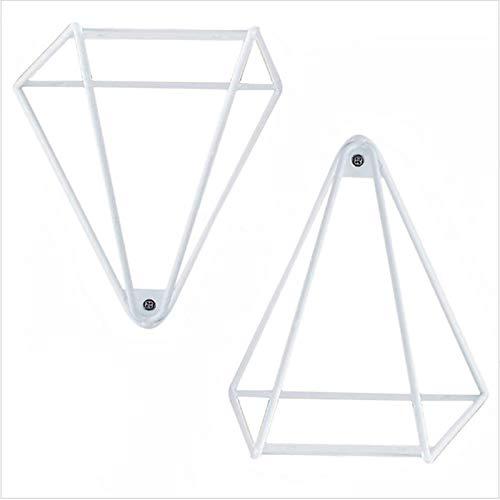 Liyijiestore 2 Stück Iron Art Schwerlast-Wandregalhalterungen Dreieck Regalwinkel Für Bücherregal,Wohnzimmer,Schlafzimmer,maximale Belastung 30kg (schwarz/Weiß) (Color : White)