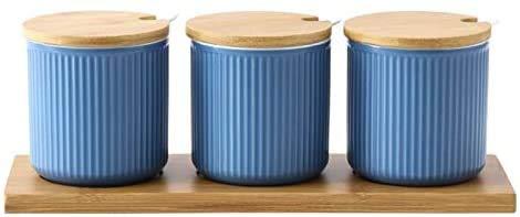 Huishoudelijke Creative Japanse Glaze Ceramic Spice Jars Fashion Keuken kruiden Flessen Sets Met Seal Cover Tray-Blue Kruiden tank (Kleur: Bule) 8bayfa (Color : Light Bule)