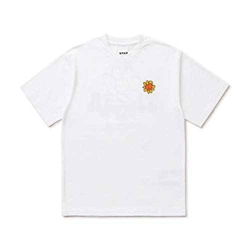 BT21 Flower Collection TATA Character Graphic Print Short Sleeve Round Neck T-Shirt Top, Medium, White