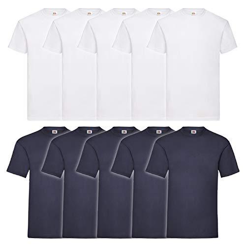 Fruit of the Loom Herren T-Shirt Valueweight, 10er Pack, Weiss/Navy, Medium