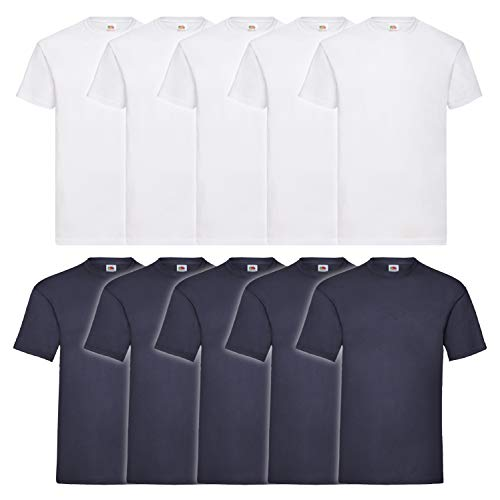 Fruit of the Loom Herren T-Shirt Valueweight, 10er Pack, Weiss/Navy, X-Large