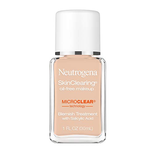 Neutrogena SkinClearing Oil-Free Acne and Blemish Fighting Liquid Foundation with Salicylic Acid Acne Medicine, Shine Controlling, for Acne Prone Skin, 100 Natural Tan, 1 fl. oz