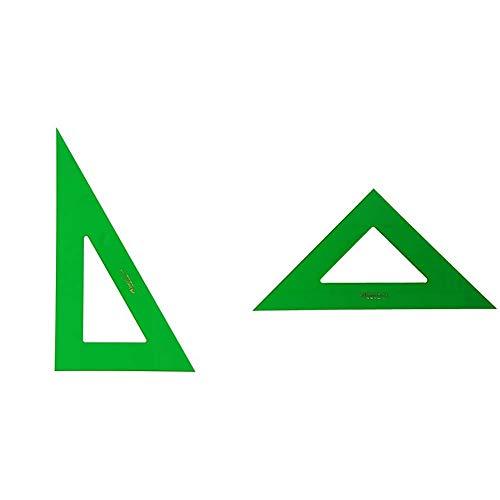 Faber-Castell 666 Cartabón de 32 cm, color verde + 566 Escuadra de 32 cm, color verde