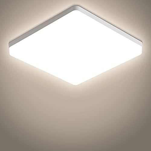 Dehobo Plafon Led de Techo 48W, Lamparas de Techo Led Modernas IP44 Impermeable para Baño, Lámpara de Techo LED Cuadrada Blanco Neutro 4500K, Iluminación de Techo de Interior para Cocina Pasillo