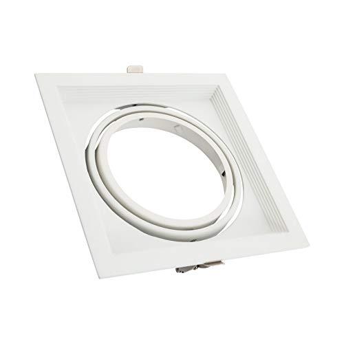 Anello Downlight quadrato basculante in alluminio per lampadina LED AR111 (bianco)