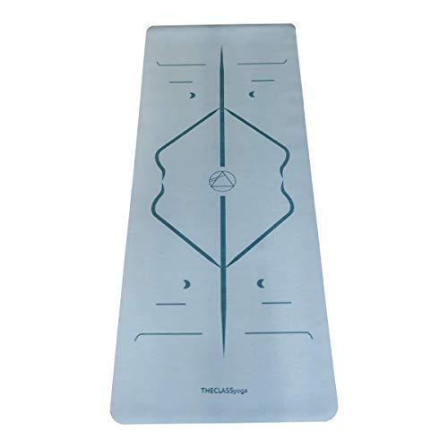 THECLASSyoga, Esterilla Mat Yoga de Caucho Ecológico, con superficie súper adherente y con sistema de alineación para ayudarte en tu práctica a conseguir las mejores posturas. (AZUL)