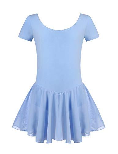 Untlet Ballettkleid Mädchen Kinder Kurarm Ballettanzug Ballett Trikot Kurzarm Body mit Chiffon Wickelrock Kinder Ballettkleidung Tanzkleid Tanzbody,Blau,160